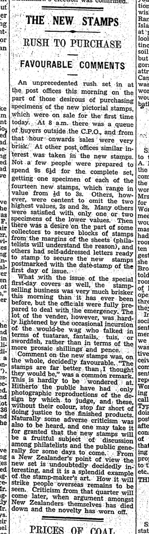 A review of the day of release of the stamps from the 'Evening Post' May 1st 1935