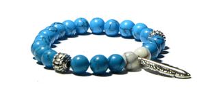 Bracelet bleue et pendentif Plume