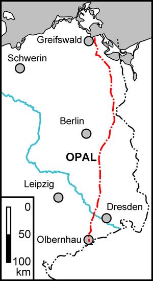 Abb. 1. Der Verlauf der Erdgasleitung OPAL durch Ostdeutschland.
