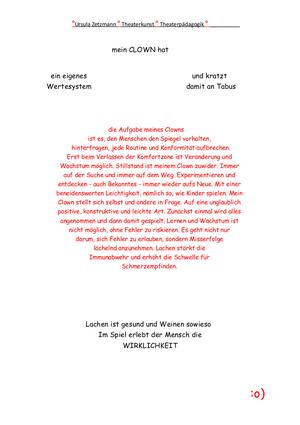 """Ursula Zetzmann grafischer Text """"mein Clown"""""""
