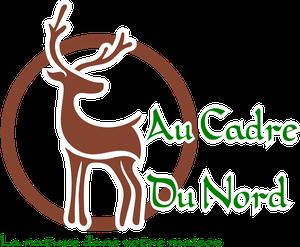 dessin représentant un arbre avec une pancarte accroché à une banche indiquant Au Cadre Du Nord, et en dessous un cerf de l'herbe et un champignon.
