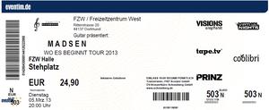 Nr.70 - 05.03.2013 - Madsen - Freizeitzentrum West, Dortmund