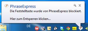 PhraseExpress-Meldung bei gesperrter CapsLock-Taste