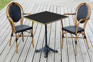 Table de bistrot carrée pour la terrasse extérieure plateau noir cerclé laiton doré