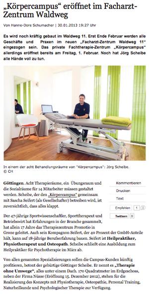 physiotherapie_göttingen_körpercampus_tageblatt_30.01.2013