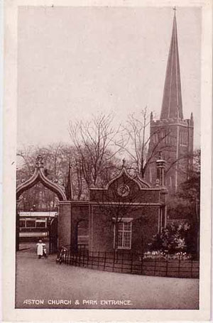 Aston Church seen behind the main entrance to Aston Hall Park - date unknown. Thanks for the use of this postcard to JKC on the Birmingham History Webring Forum. All Rights Reserved. See Acknowledgements for a link to this website.