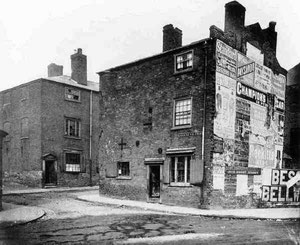 Slums at the corner of Greens Village and John Bright Street (date unknown). Image 'All Rights Reserved' courtesy of Professor Carl Chinn from his BirminghamLives collection - See Acknowledgements.