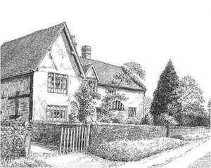 16th-century cottages in Lea Hall Road - demolished in 1938 - drawn in 1937. Thanks for the use of this image to E W Green, Historic Buildings in Pen & Ink - The Work of William Albert Green. See Acknowledgements.