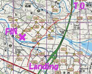 BUMの航跡図(赤線)