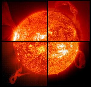 Eine Collage von riesigen Protuberanzen: Die Bilder im Uhrzeigersinn, Start oben links, vom: 15.05.2001, 28.03.2000, 18.01.2000 und 02.02.2001 (Bildquelle: NASA, SOHO)
