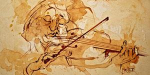 Etude de violoniste-acrylique sur toile 50*65