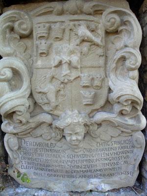 Wappen der Königin Christina - heute rechts neben dem Stadtmauerdurchgang vom Messeplatz zur Hadergasse