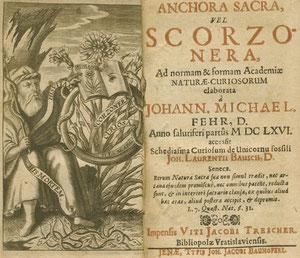Ein Buch des Schweinfurters Johann Michael Fehr - Schlangen, die sich um einen Ring winden, wurden schließlich zum Wahrzeichen der Leopoldina-Akademie - 1666 - vergrößerbar!