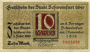 Notgeld der Stadt Schweinfurt von 01. November 1918 - ganz oben Rückseite, darunter Vorderseite, unterzeichnet von Wilhelm Söldner