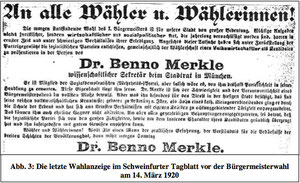 Wahlanzeige im Schweinfurter Tagblatt am 14. März 1920