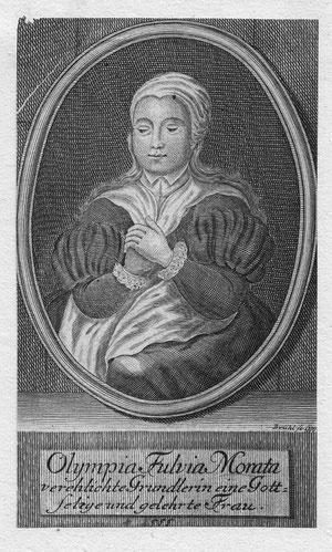 Olympia Fulva Morata; Kupferstich von Brühl um 1740