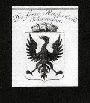 Kupferstich mit Wappen Schweinfurts aus dem Jahre 1797
