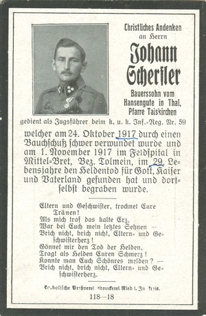 Sterbebild Erster Weltkrieg Rombon Bovec Isonzofront