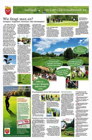 Konzeption und Text für ganzseitige PR-Anzeige für den Golf-Club Freudenstadt 2012