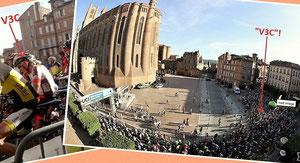 Départ devant la cathédrale Ste Cécile, au coeur du vieil Albi
