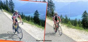 JJT et Claude dans le Semnoz avec le lac d'Annecy en fond...