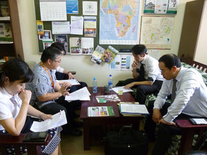 (From the left) Dr. NARISAWA, Mr. NAKAMURA, Ms. OTA, Mr. IZUMI, Mr. NABAE at Our Office