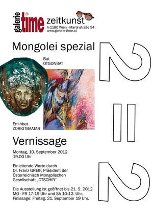 Galerie Time Vernissage Ausstellung Mongolei spezial mit Bat  OTGONBAT  und Enkhbat ZORIGTBAATAR