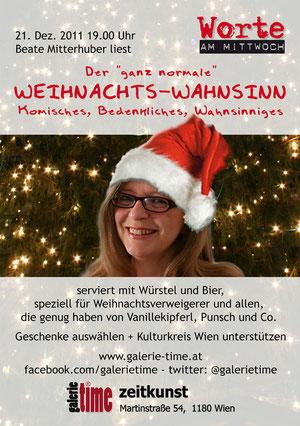 galerie time Lesung - Worte am Mittwoch - Beate Mitterhuber liest Komisches, Bedenkliches, Wahnsinniges zum Weihnachtsfest - auch für Weihnachtsverweigerer geeignet