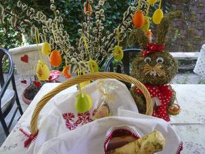 osterhase lässt grüßen - weihkorb mit schinken, kren, gefärbte eier, reindling, schweinsbraten