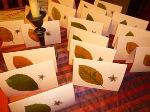 weihnachtskarten 2012/2013 - buchenblätter und borretschblüten