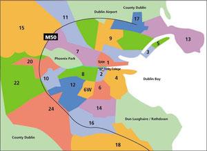 Dublins einzelne Bezirke