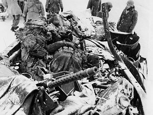 "Five American soldiers died when their half-track took a direct hit from a German ""88"" during the three-day battle for Riedwihr (photo courtesy www.dogfacesoldiers.org)"