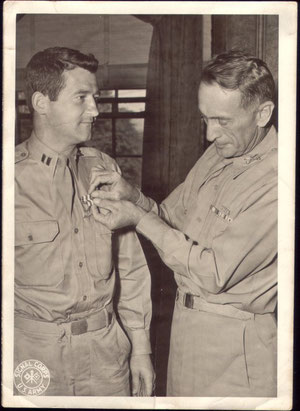 18 August 1945: Colonel Willoughby awards Captain Martin J. Higgins Silver Star for Gallantry in Action during Lost Battalion engagement (courtesy Higgins Family Collection)
