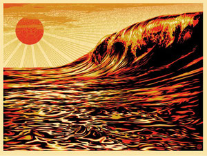 Shepard fairey Dark Wave - Rising Sun