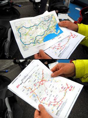 ベアせたがや・ケイさんが手にしているのは下見班が作った全ルートの載ったマップ(上)と、見どころ情報(下)だ