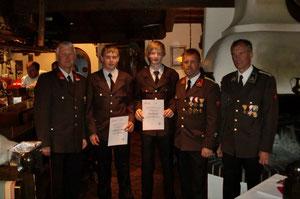 Vzbgm. Herbert Exenberger, Lehrberger Michael, Pertl Andreas, Kdt. Hannes Schwentner, Schriftführer Hubert Foidl