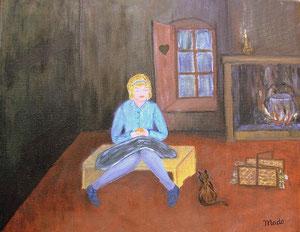La petite fille à l'orange de Mado (artiste peintre amateur)