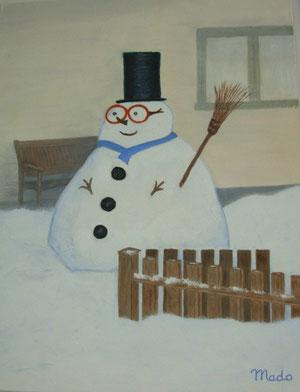 Un grand bonhomme de neige annonce l'hiver ! (peinture à l'huile de MaDo)