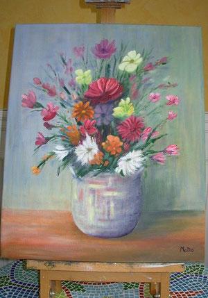 Le jardin s'invite à vos côtés par Mado (grande toile à l'huile fine de 38 x 46 cm)
