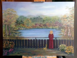 La rêveuse au lac (pour l'instant à vendre sans cadre)