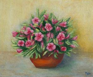 La potée aux fleurs rose par Mado (trande toile à l'huile fine de 38 x 46 cm)