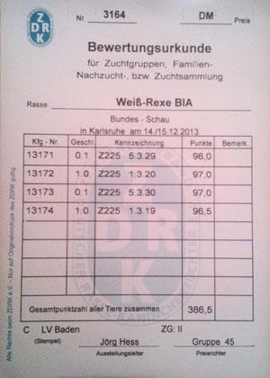 Bewertungskarte Weißrex BlA