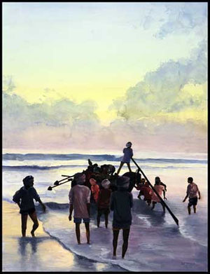 The Fishermen 65 x 50 cm, wcolor, by Nadine Le Prince