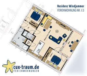 Grundriss der Ferienwohnung Nr. 13 in der Residenz Windjammer