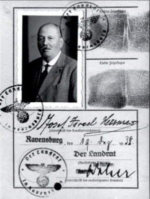 """Kennkarte, ausgestellt auf """"Josef Israel Herrmann"""", Dezember 1938, Stadtarchiv Ravensburg, alle Rechte vorbehalten!"""