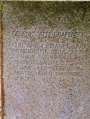 Inschrift Gedenkstein Grafeneck, Foto: Anne Schaude, Mai 2013