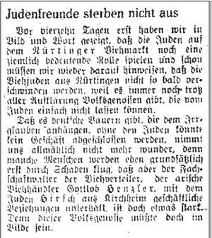 """Gottlob Henzler war in der Zeitschrift Flammenzeichen bereits als """"Judenfreund"""" diffamiert worden. Abbildung aus: anuel Werner: Juden in Nürtingen in der Zeit des Nationalsozialismus, S. 42"""