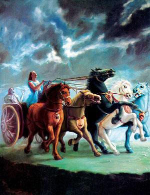 Die 5 Sinne (Pferde)  --  Zügel (Verstand)  ..  Kutscher (Intelligenz) ... Wagen (falsches Ego ) ...Fahrgast  (wir die Seele)