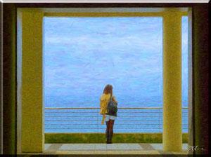 Spagna - Donna sul terrazzo a San Sebastian