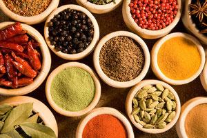 Gewürze dienen nicht nur der geschmacklichen Verfeinerung, sondern fördern auch die Bekömmlichkeit eines Gerichtes